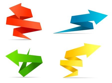 Illustration pour Arrow web banners and labels in origami style for web design - image libre de droit