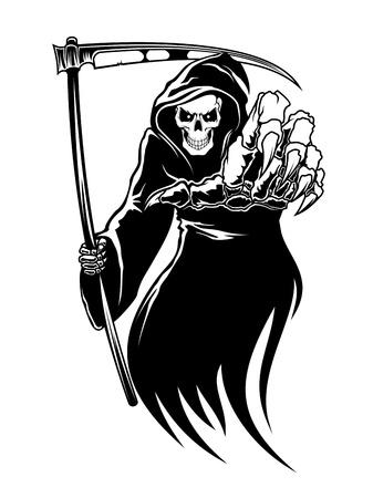 Illustration pour Black death monster with scythe for halloween concept - image libre de droit