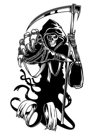 Illustration pour Black death with scythe for halloween or horror concept - image libre de droit