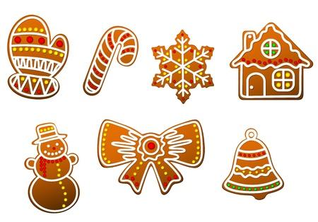 Gingerbread christmas cookies set