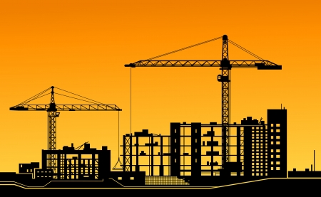 Working cranes on building for construction industry design
