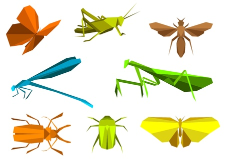 Illustration for Insects set in origami paper elements isolated on white background  - Royalty Free Image