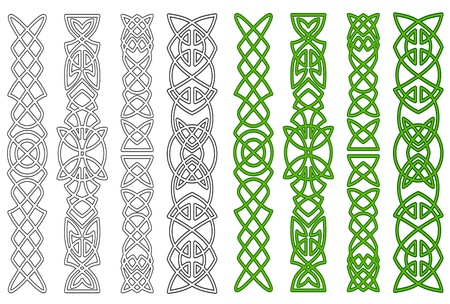 Green celtic ornaments and elements for medieval embellishments