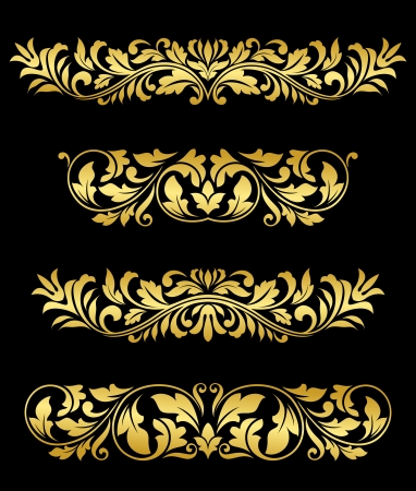 Retro gold floral elements and embellishments set for design and decorate