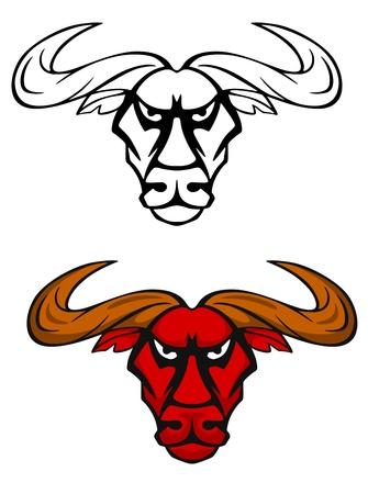 Attack bull head for team mascot or emblem design