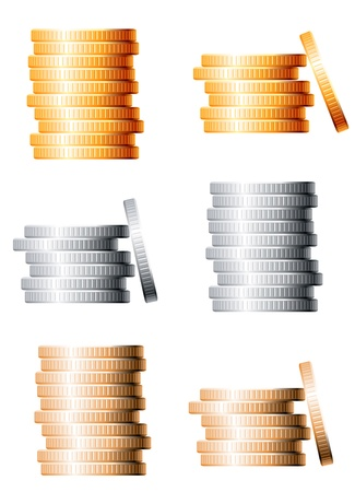 Bronze, silver and gold stacks of coins isolated on white background