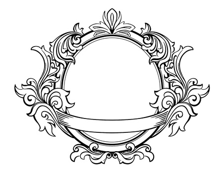 Retro frame with decorative floral elements in victorian style
