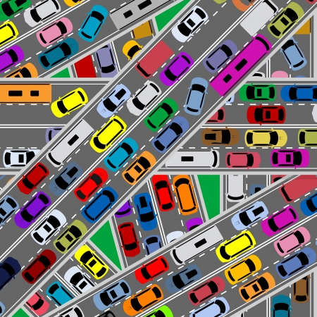 Traffic congestion on roads for modern city problems concept