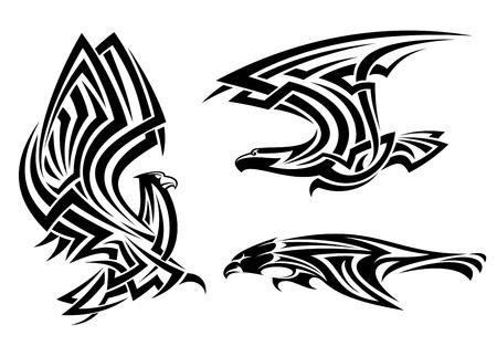 Illustration pour Tribal eagle, hawk and falcon set for tattoo or heraldry design - image libre de droit