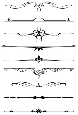 Vintage dividers and borders set in medieval style for embellish and ornate