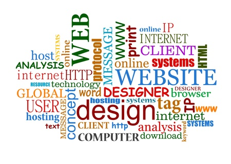 Web and internet design tags cloud with useful words