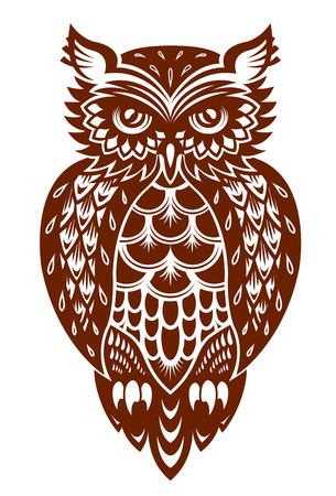 Brown owl in ornamental style for mascot or another design
