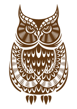 Brown owl with decorative ornament isolated on white background