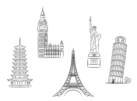 Travel landmarks set in sketch style for trip and journey concept design