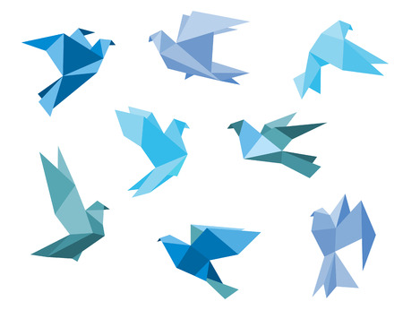 Illustration for Paper pigeons and doves set in origami style - Royalty Free Image