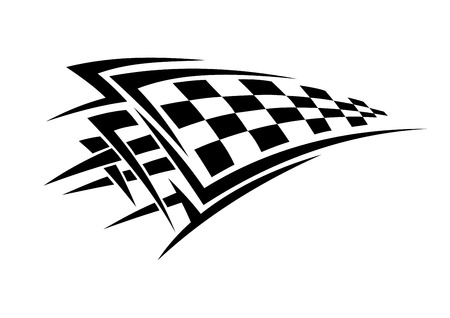 Tribal sport racing tattoo with checkered flag