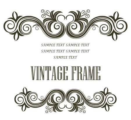 Vintage framing header and footer with symmetrical swirling abstract floral designs in black and white with central blank copyspace on white as a design element for a document or manuscript