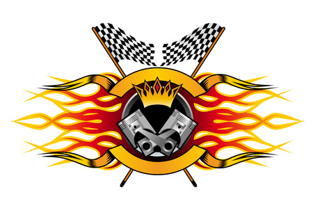 Illustration pour Motor racing championship icon for the champion with a winners crown and flames over a crossed pair of black and white checkered flags, colourful  illustration - image libre de droit