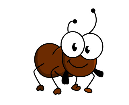 Adorable little brown cartoon ant with a happy smile and googly eyes, silhouette vector illustration on whiteのイラスト素材