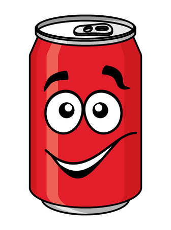 Red cartoon soda or soft drink can with a smiling face isolated on white for fast food design