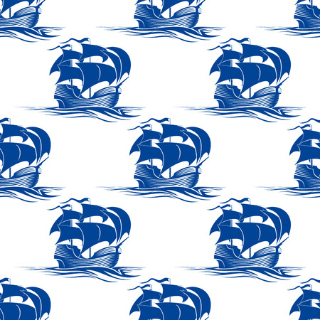 Old vintage schooner sailing ship seamless pattern in a blue silhouette with a repeat motif