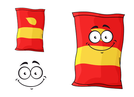 Cartoon funny packet of chips or crisps isolated on white for fastfood design