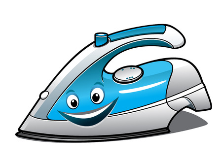 Cheerful cartoon electric iron with a blue water tank, smiling face and steam button isolated on white