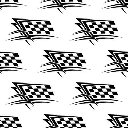 Black and white checkered flag used in motor sports in a repeat motif seamless pattern in square format