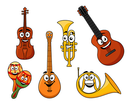 Set of musical instruments with smiling happy faces including a violin, banjo, rattles, horn, guitar and brass trumpet