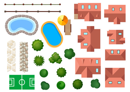 Illustration pour Landscape, garden and architectural elements with houses, swimming pools, treetops, bushes, steps and borders isolated on white - image libre de droit