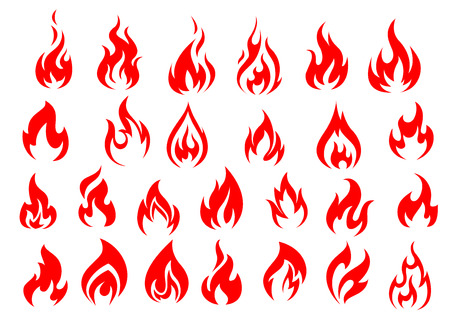 Red fire icons and pictograms set isolated on white background