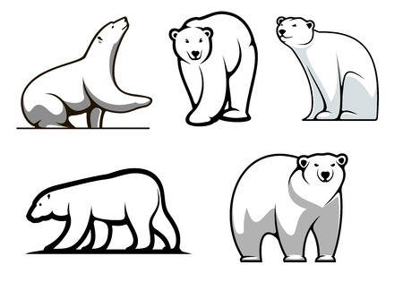 White polar bears set in cartoon style for mascot