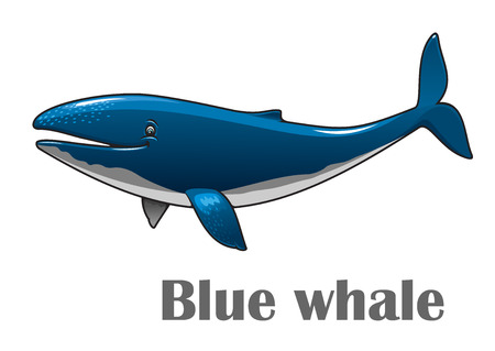 Cartoon smiling blue whale isolated on white background for nautical, wildlife and ecology design