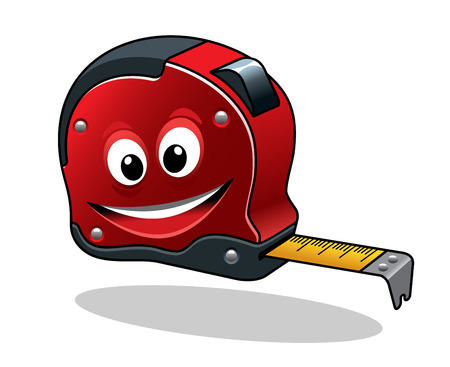 Isolated measuring tape tool in cartoon character style for construction concept design