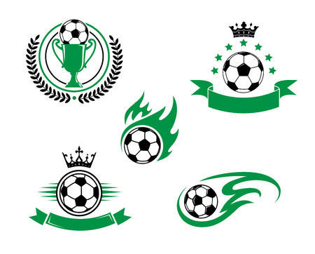 Ilustración de Football and soccer emblem or logo with ball, cup, laurel wreath ribbon and crown. Suitable for sporting and recreation design - Imagen libre de derechos