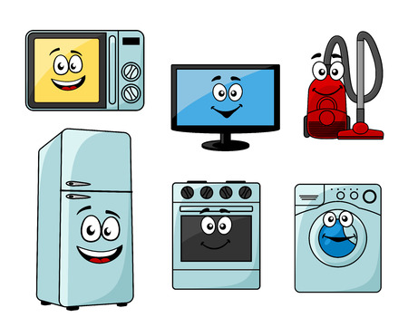 Cartoon household appliances set with microwave, TV, vacuum cleaner, refrigerator, oven and washing machine