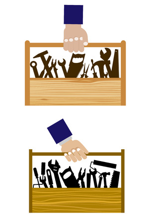 DIY icons with set of hand equipment tools in a wooden toolbox being carried by a human hand