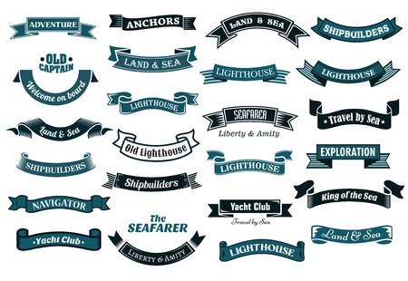 Ilustración de Nautical , marine and maritime themed ribbon banners with various text in shades of blue, vector illustration isolated on white - Imagen libre de derechos