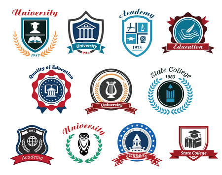 Illustration pour University, academy and college emblems set for education industry design. Isolated on white background - image libre de droit
