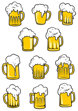 Illustration pour Vector tankards of beer with frothy heads overflowing the glass in different shapes, vector illustration on white - image libre de droit