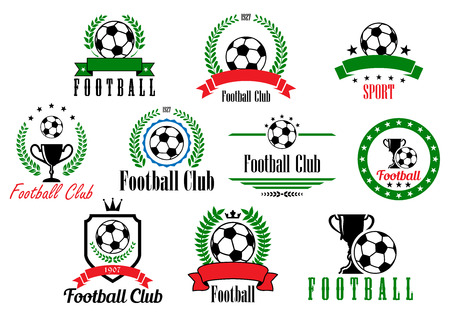 Set of football club badges and emblems with various text in wreaths and frames decorated with soccer or footballs, trophies and ribbon banners, vector illustration isolated on white