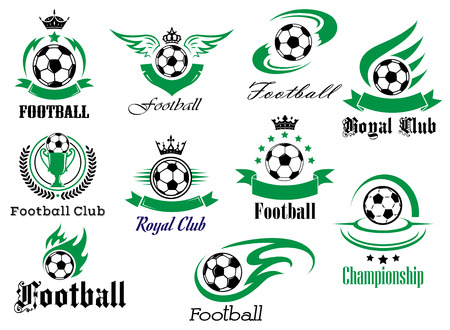 Football or soccer sports heraldic emblems and symbols for sport club, championship design with balls, ribbon banners, wings, trophy, crowns and stars