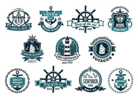 Ilustración de Blue marine labels, logo or emblems set with anchors, wheels, sailboats, lighthouse, ribbons, ropes, chains and stars - Imagen libre de derechos