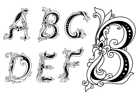 Capital outline floral letters A, B, C, D, E, F ornate decorated with flowers and leaves for romantic and vintage design