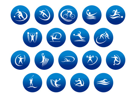 Foto per Athletics and team sport icons or symbols for sporting and fitness logo design - Immagine Royalty Free