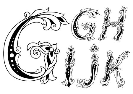 Letters G, H, I, J and K in retro floral style for vintage medieval design
