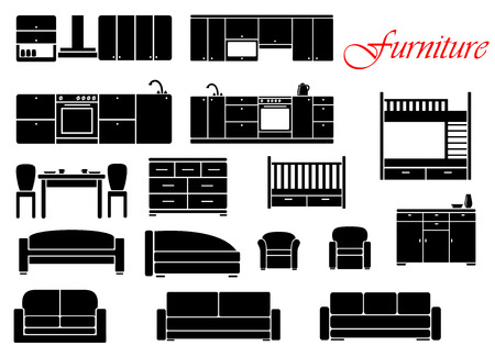 Assorted silhouette home furniture with chair, bed, table, kitchen, sofa and chest