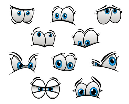 Cute cartooned big blue eyes with happy, fun, sad and angry emotions for creation of comic book characters