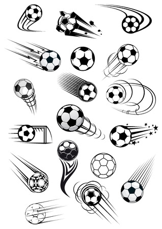 Football or soccer balls with motion trails in black and white for sporting emblems and mascot design