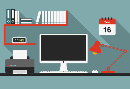 Illustration pour Office workplace interior with desktop computer, mouse, lamp, clock, bookshelf and printer in flat style for business concept design - image libre de droit